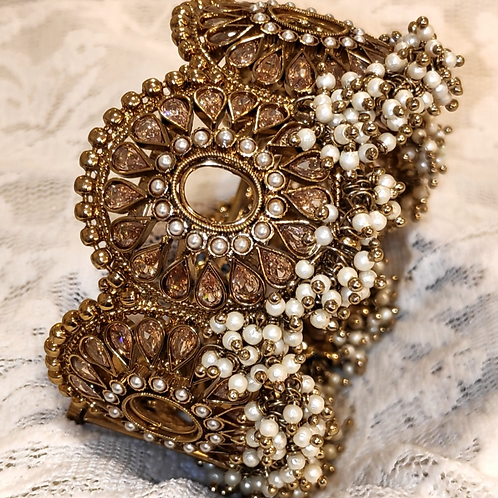 Antic plated bangles with LCT ad stones and pearls
