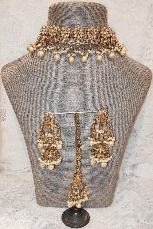 Choker set - antic pearl beads with jhumki earrings