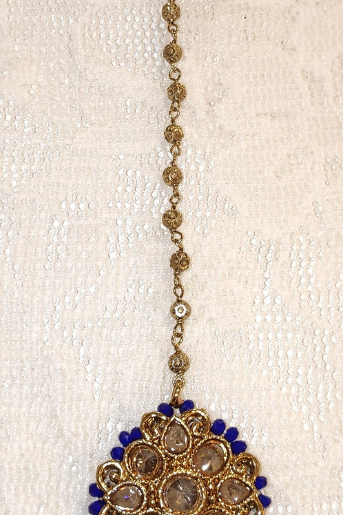 Antic small tikka with royal blue beads