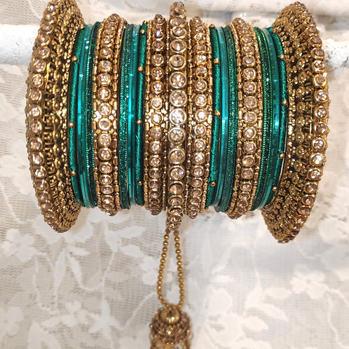 Green + gold (lct) stones antic bangle set