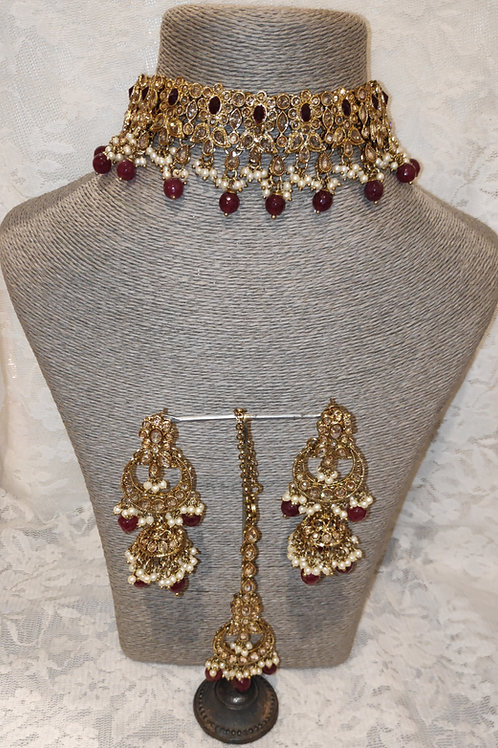 Choker set - maroon beads and pearls with jhumki earrings
