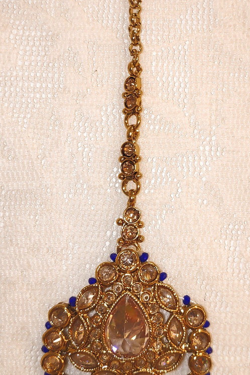 Antic tikka gold stones with royal blue beads