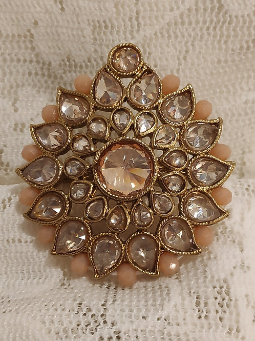 Antic ring large peach beads and ad stone studded