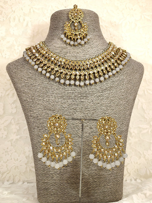 Collar set - faux pearl and grey beading