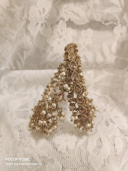 Antic pear shaped gold Ad stones with pearl bells