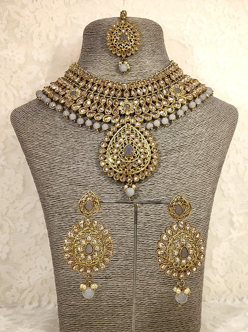 Large Collar - faux pearl and grey beading