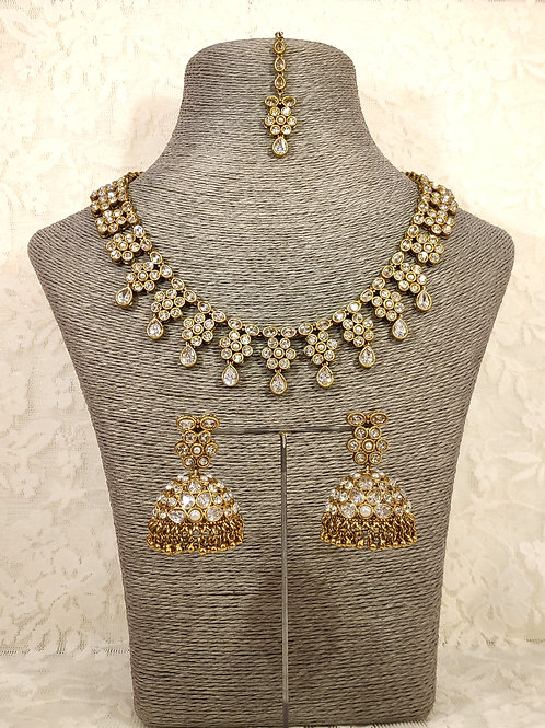 Small Collar Necklace Set with white AD stones