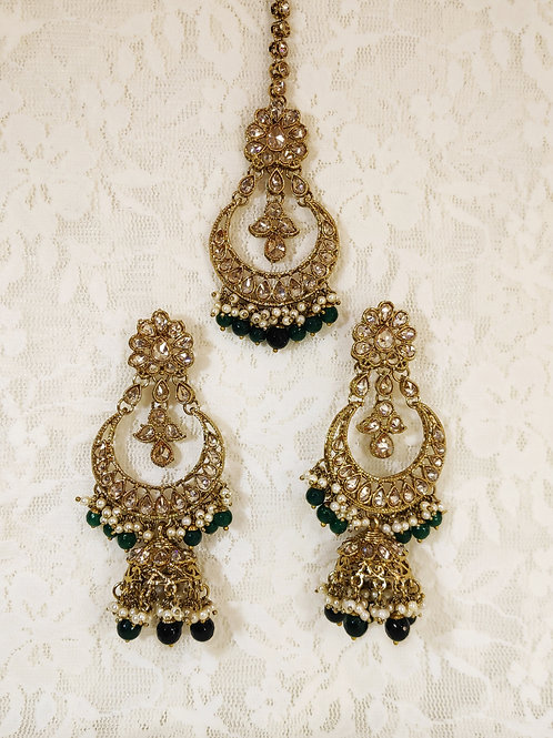 Antic earring tikka set with bottle green and faux pearl beading