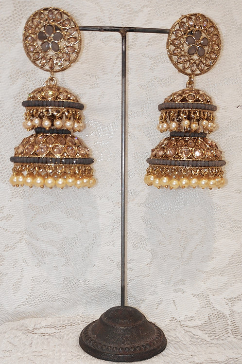 Double Jhumki earrings with grey beads and pearls