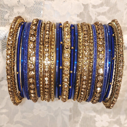Royal Blue + gold (lct) stone antic bangle set