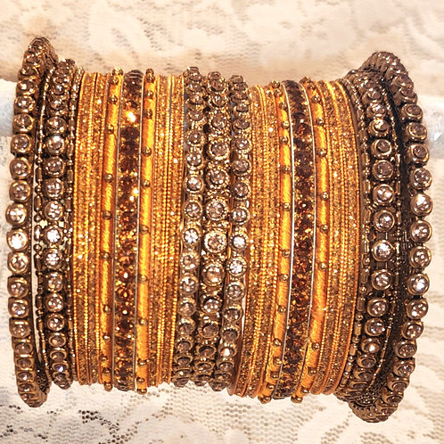 Yellow + gold (lct) stones antic bangle set