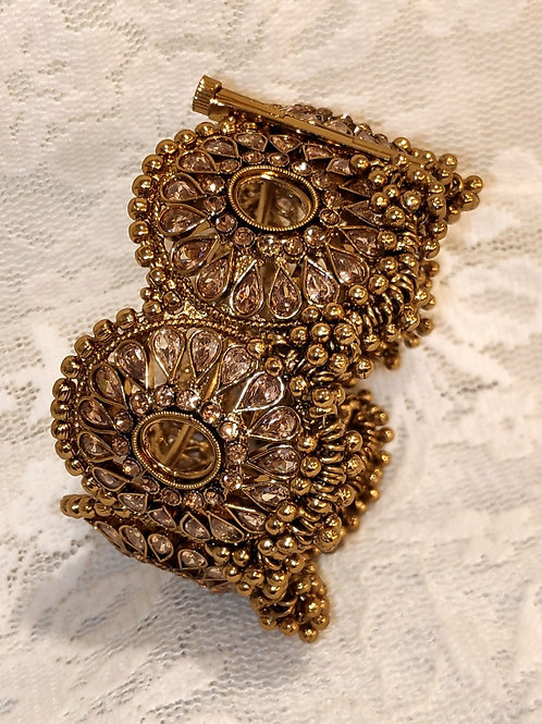 Antic plated bangles with LCT ad stones and gold bells
