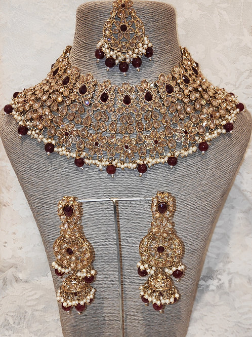 Large Collar - maroon beads and pearls with jhumki earrings