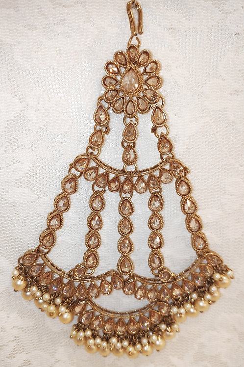 Large Jhumar/Pasa - Full lct ad stones with pearl beads
