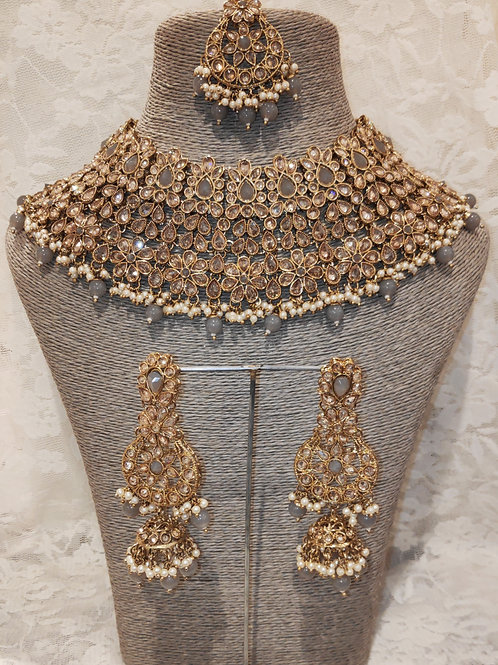 Large Collar - grey beads and pearls with jhumki earrings