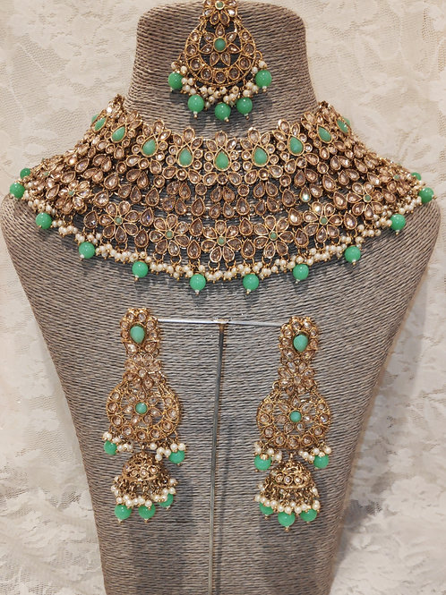 Large Collar - mint beads and pearls with jhumki earrings