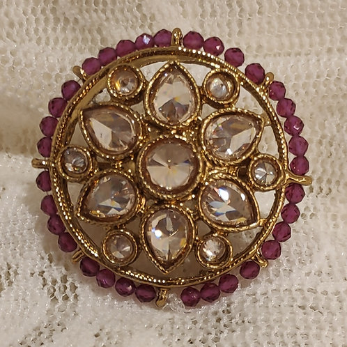 Antic ring round fuchsia beads and ad stone studded