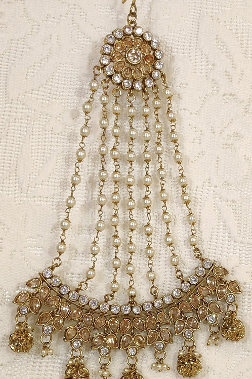 Antic Jhumar with pearl, white and LCT AD stones
