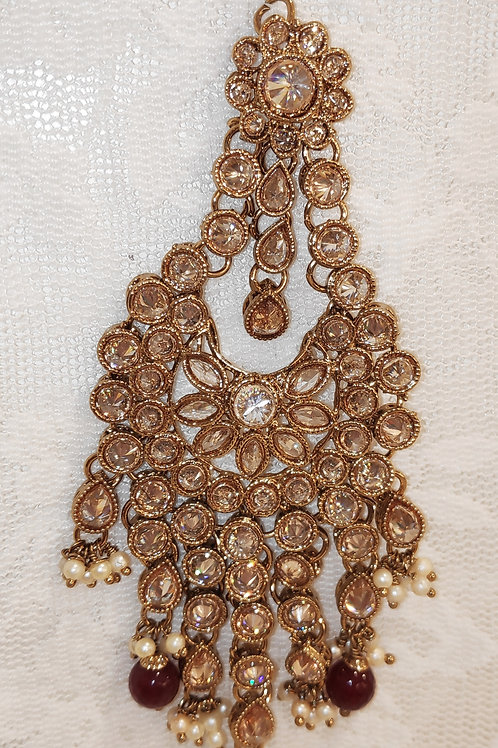 Jhumar/Pasa - Full lct ad stones with maroon beads