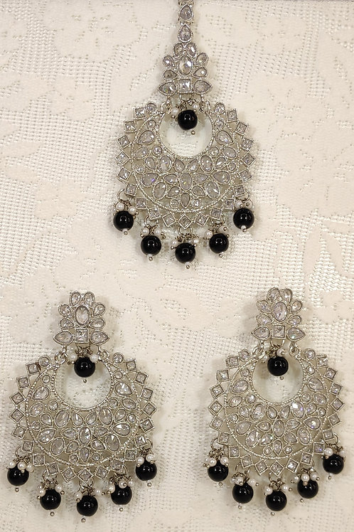 Silver earring and tikka set with black and faux pearl beading
