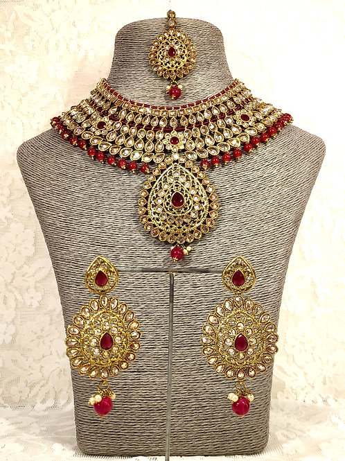 Large Collar - faux pearl and maroon beading