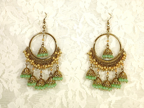 Contemporary Jhumki - faux pearls and pista