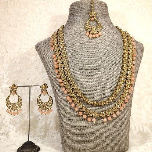 Antic 2 Line Midi Set with peach beads