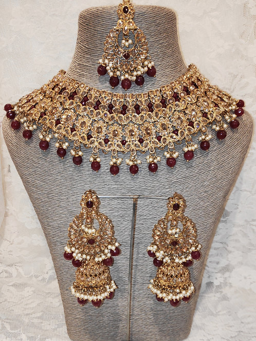 Large Collar - maroon beads and faux pearls with jhumki earrings