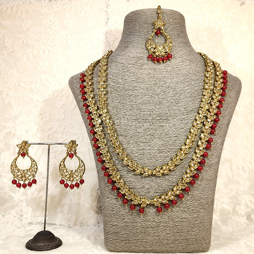 Antic 2 Line Midi Set with maroon beads
