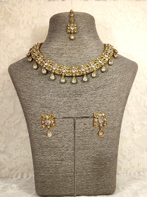 Small Choker Necklace Set with white AD stones