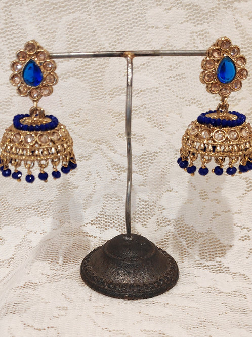 Jhumki earrings with royal blue stone and beading
