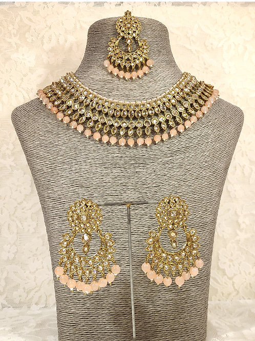 Collar set - faux pearl and peach beading
