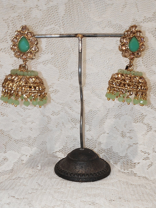 Jhumki earrings with mint stone and beading