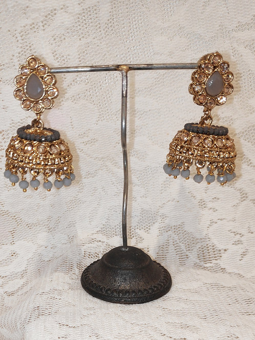 Jhumki earrings with grey stone and beading