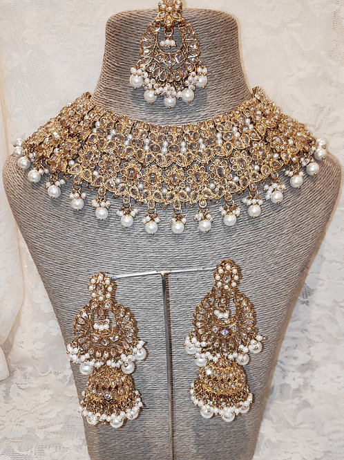 Large Collar - white pearl beads with jhumki earrings
