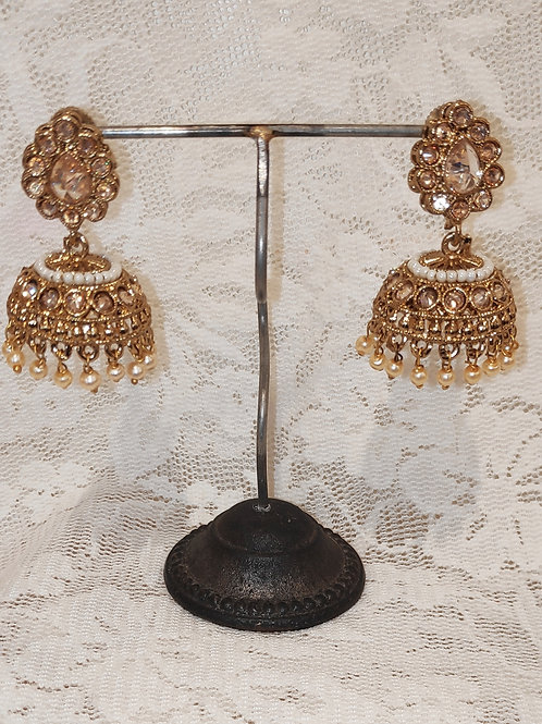 Jhumki earrings with lct stone and pearl beading