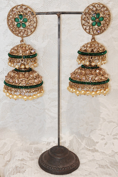 Double Jhumki earrings with bottle green beads and pearls
