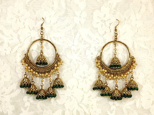 Contemporary Jhumki - Bottle Green