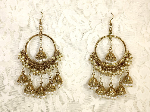 Contemporary Jhumki - faux pearls
