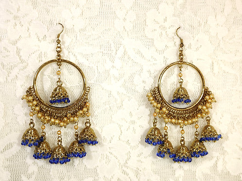 Contemporary Jhumki - electric blue