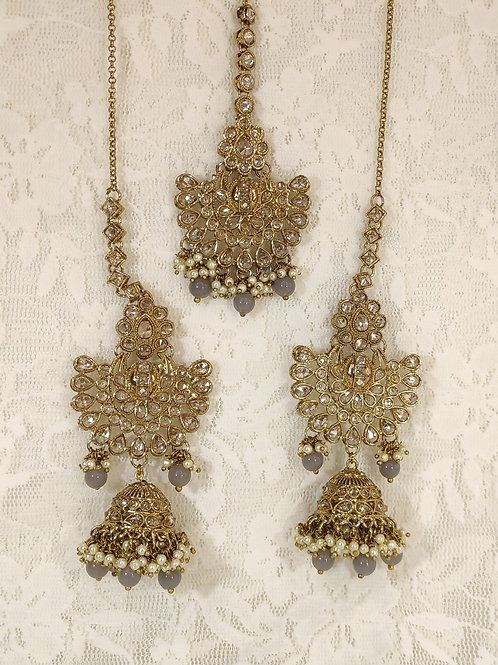Antic earring tikka set with grey and faux pearl beading