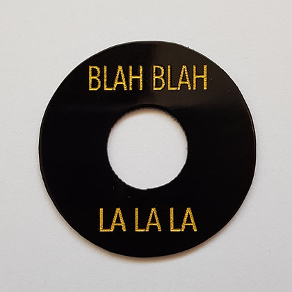 BLAH BLAH LA LA LA poker chip in aged black