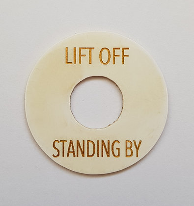 LIFT OFF/STANDING BY poker chip in aged white