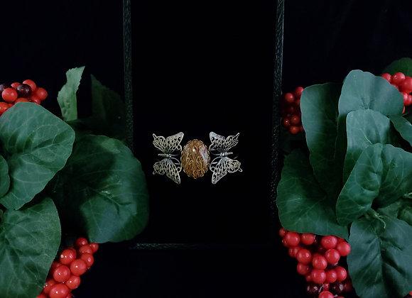 Metal Butterfly Bracelet-Script Stone