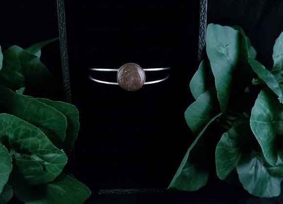 Metal Bracelet-Moss Agate