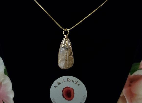 Polished Rock Necklace-Rutilated