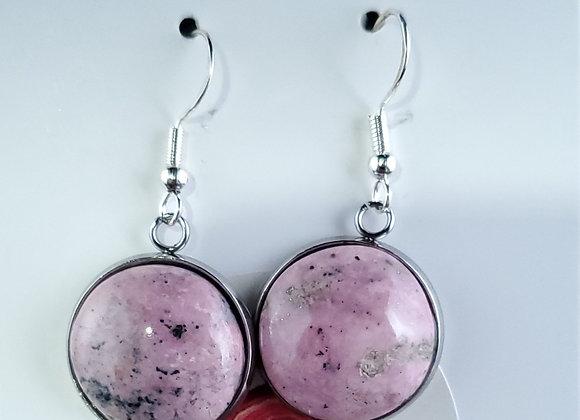 Earrings -Fish Hook-Rhodonite