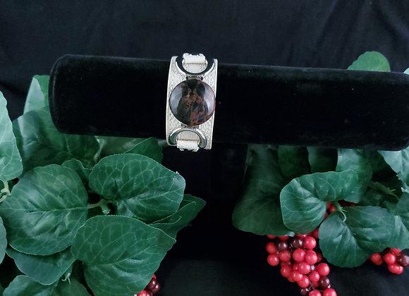 Leather Bracelet-Obsidian