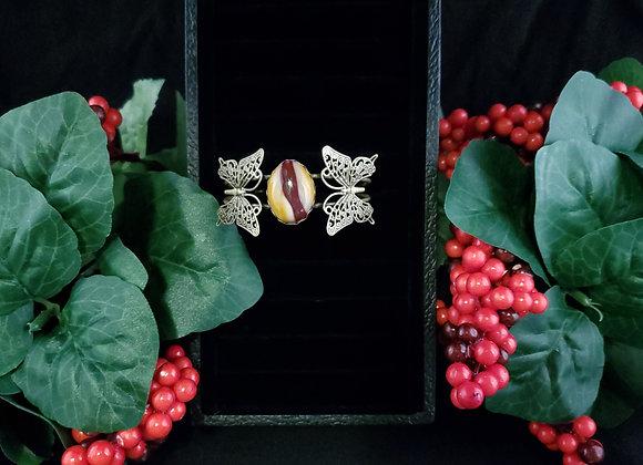 Metal Butterfly Bracelet- Mookaite