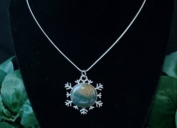 Snowflake Pendant Necklace-Moss Agate